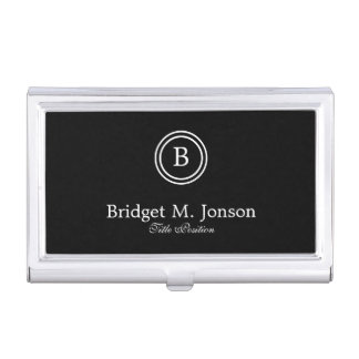 Simple Black Background And Black And White Circle Business Card Holder