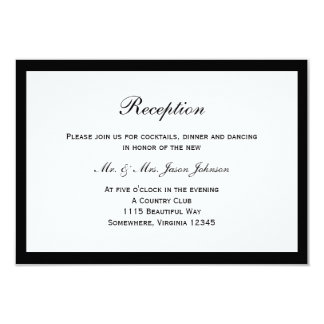 Simple Black Border Wedding Reception Card