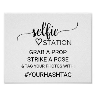 Simple Black Calligraphy Selfie Station Sign