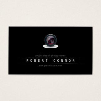 Simple Black Camera Lens Photographer Card