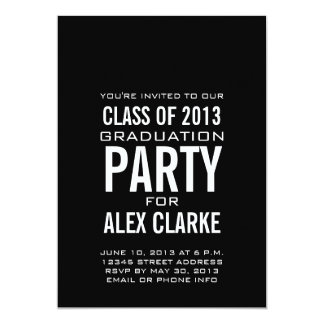 SIMPLE BLACK CLASS OF 2013 PARTY INVITATION