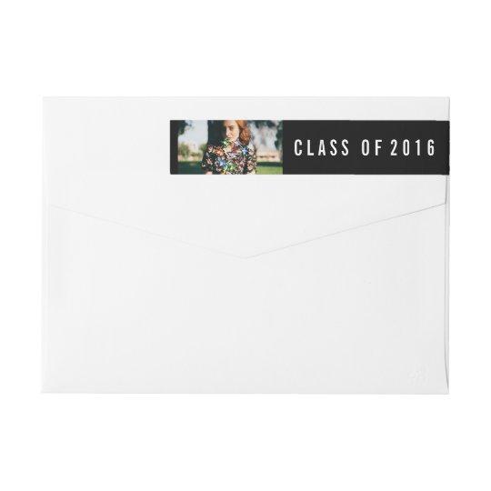 Simple Black Class Of 2016 Graduate Photo Wraparound Return Address Label