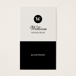 Simple Black & Cream Monogram Business Cards