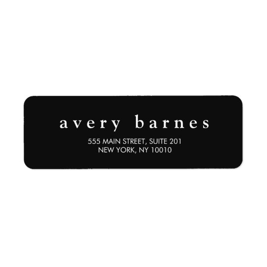 Simple Black Creative Professional Modern Return Address Label