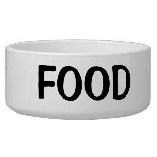 Simple Black Food Text Dog Water Bowl