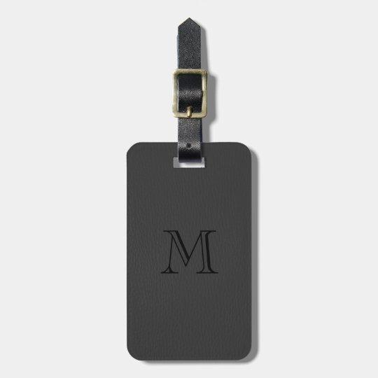 Simple Black Fox Leather Look Monogram Luggage Tag