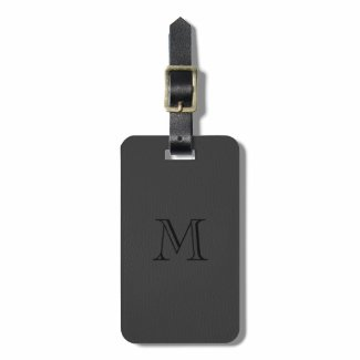 Simple Black Fox Leather Look Monogram Tags For Luggage