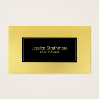 Simple Black Gold Foil Event Planner Business Card