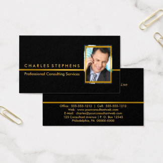Simple Black | Gold Professional Consulting Photo Business Card