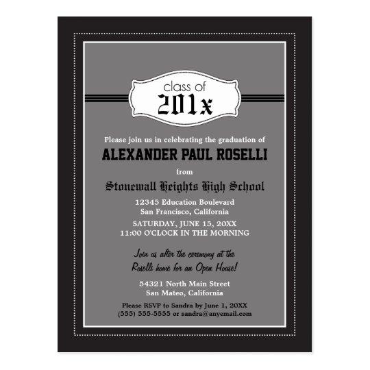 Simple Black Graduation Postcard Announcement