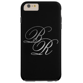 SIMPLE BLACK GRAY MONOGRAM INITIALS TOUGH iPhone 6 PLUS CASE