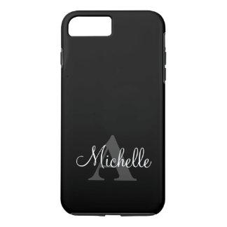 Simple Black Grey Your Monogram Personalized iPhone 7 Plus Case
