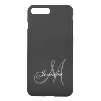 SIMPLE, BLACK, GREY YOUR MONOGRAM YOUR NAME iPhone 8 PLUS/7 PLUS CASE
