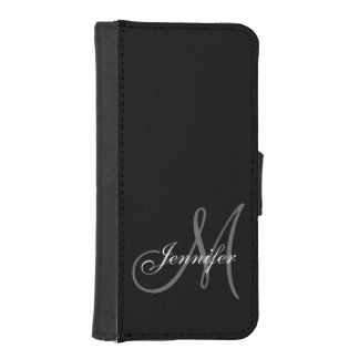 SIMPLE, BLACK, GREY YOUR MONOGRAM YOUR NAME iPhone SE/5/5s WALLET CASE