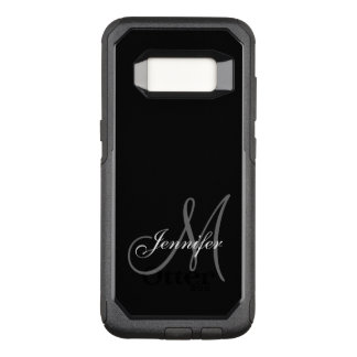 SIMPLE BLACK, GREY, YOUR MONOGRAM, YOUR NAME OtterBox COMMUTER SAMSUNG GALAXY S8 CASE