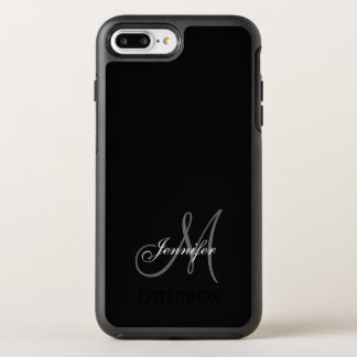 SIMPLE BLACK, GREY, YOUR MONOGRAM, YOUR NAME OtterBox SYMMETRY iPhone 8 PLUS/7 PLUS CASE