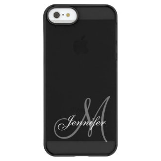 SIMPLE, BLACK, GREY YOUR MONOGRAM YOUR NAME PERMAFROST® iPhone SE/5/5s CASE