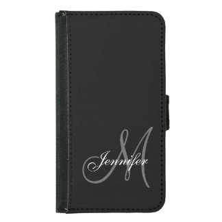 SIMPLE, BLACK, GREY YOUR MONOGRAM YOUR NAME SAMSUNG GALAXY S5 WALLET CASE