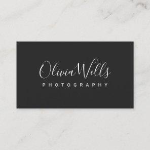 Simple Black Handwritten Script Social Media Icons Business Card