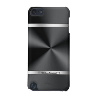 Simple Black Metallic Print Silver Accent iPod Touch 5G Cases