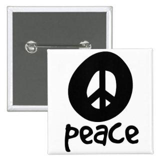 Simple Black Peace Sign 15 Cm Square Badge