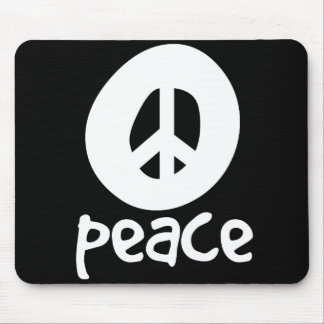 Simple Black Peace Sign Mouse Pad