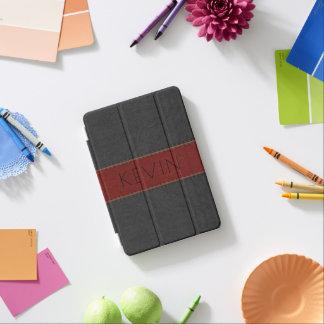 Simple Black & Red Vintage Leather Print iPad Mini Cover