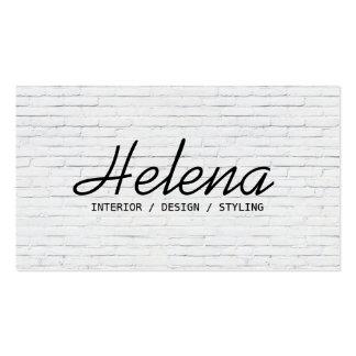 Simple black script modern white brick wall plain pack of standard business cards