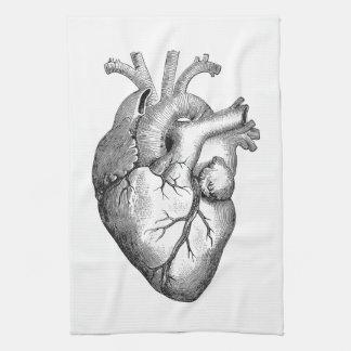 Simple Black White Anatomy Heart Illustration Towels