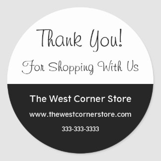 Simple Black White Business Customer Thank You Round Sticker