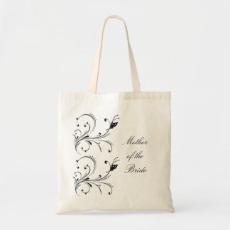 Simple Black White Butterfly Scroll Mother of the  Canvas Bags