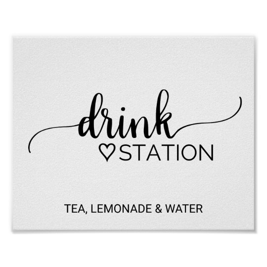 Simple Black & White Calligraphy Drink Station Poster