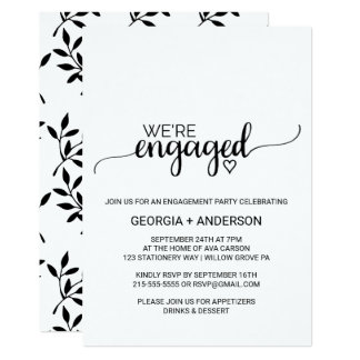 Simple Black & White Calligraphy Engagement Party Card