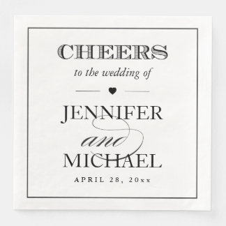 Simple Black White Cheers To the Wedding Script Disposable Napkins