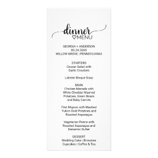 Simple Black & White Chic Calligraphy Wedding Menu