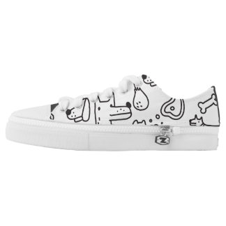 Simple black & white dog pattern low top