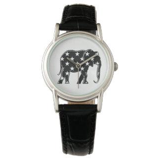 Simple Black White Elephant Elegant Stars Stylish Watch