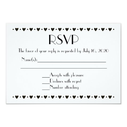 Simple Black White Heart Border RSVP Wedding Cards