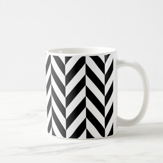 Simple Black White Herringbone Pattern Coffee Mug