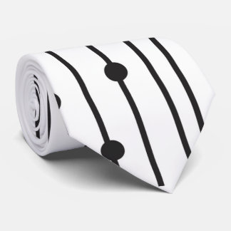 Simple black & white line pattern tie