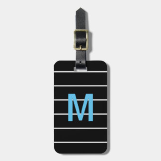 Simple Black White Lines Blue Bold Monogram Luggage Tag