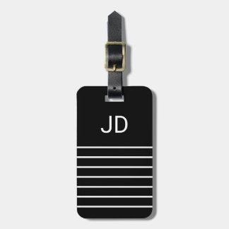 Simple Black White Lines Monogram Luggage Tag