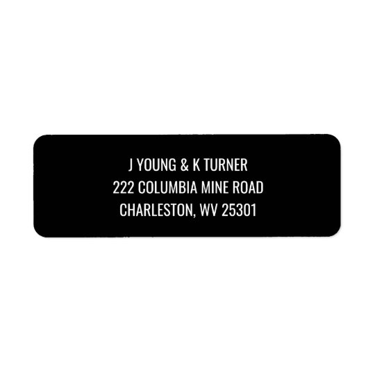 Simple black & white modern return address labels