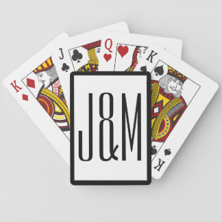 Simple Black White Monogram Initials Playing Cards