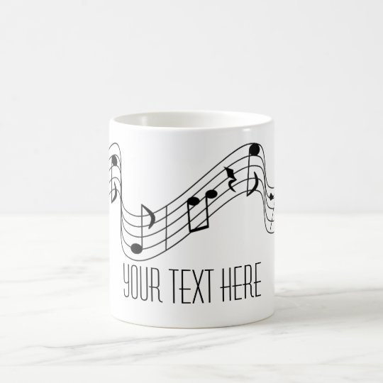 Simple Black White Music Notes Custom Name Coffee