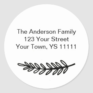 Simple Black White Pine Address Classic Round Sticker