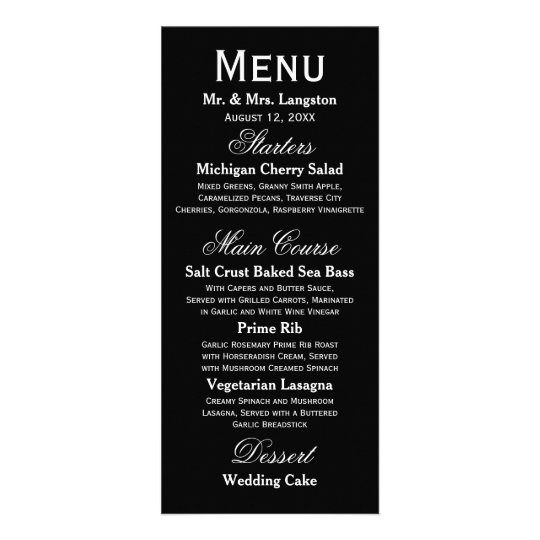 Simple Black/White - Reception Menu Full Colour Rack Card