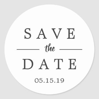 Simple Black & White Save the Date Wedding Classic Round Sticker