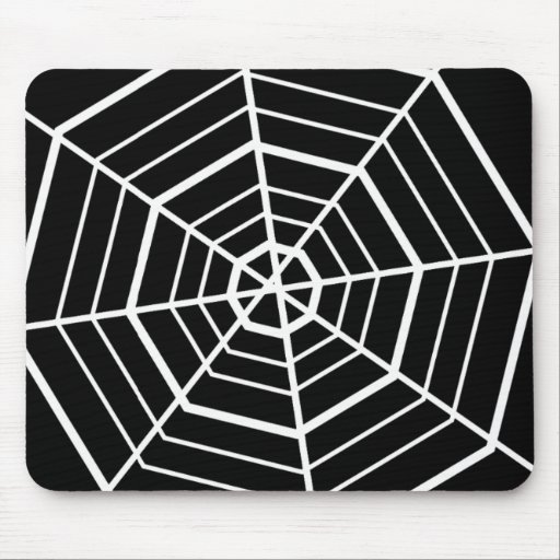 SIMPLE BLACK & WHITE SPIDER WEBS MOUSE PAD
