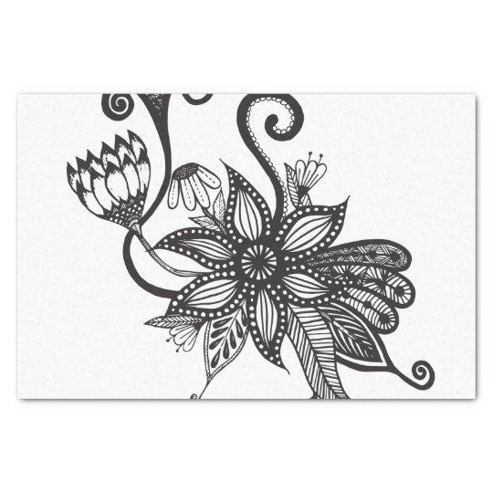 Simple Black & White Tangle Flowers Tissue Paper